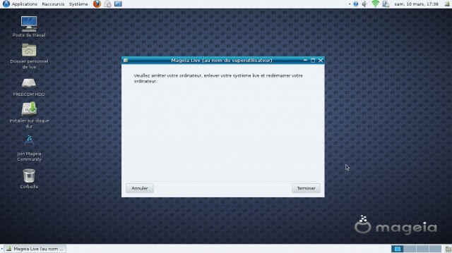 Mageia 1 Gnome fin d'installation