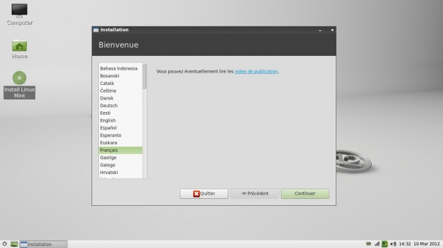 Linux Mint 12 LXDE installation