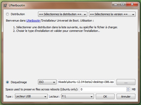 UNetbootin disque image