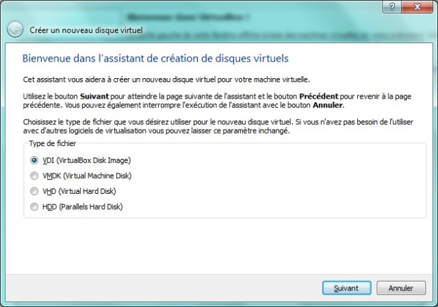 Type de fichier virtualbox