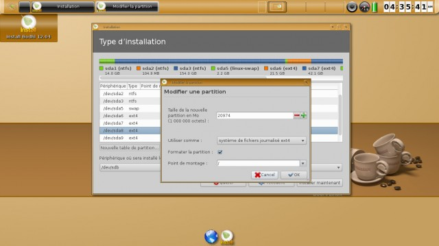 Bodhi linux formatage