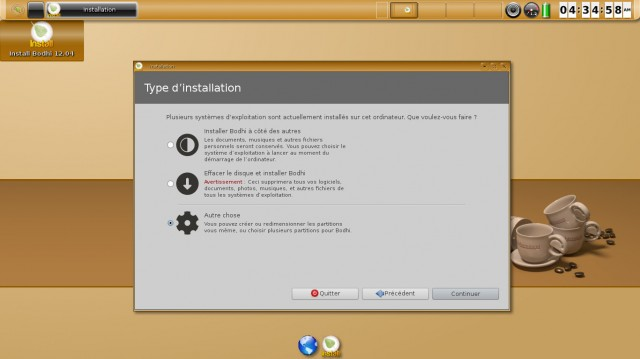 Bodhi Linux type d'installation