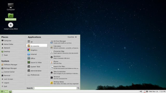 Linux Mint Mate 14 menu