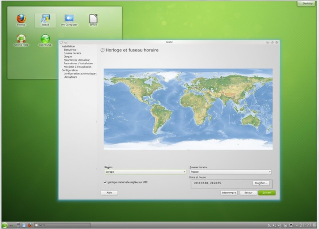 Opensuse fuseau horaire