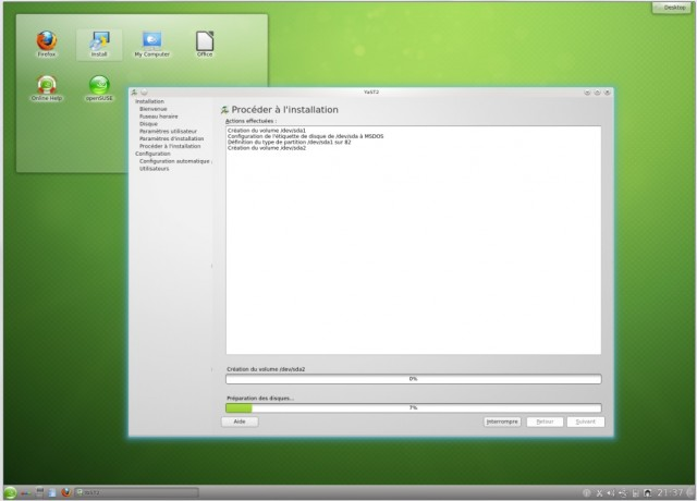 Opensuse s'installe