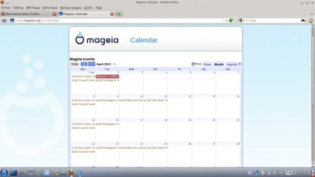 Mageia calendrier avril