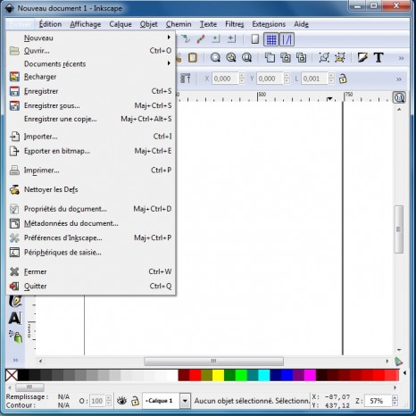 Inkscape menu