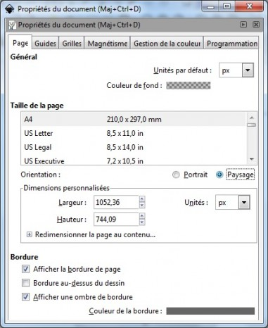 Inkscape propriétés du documents