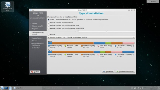 Type d'installation Linux Mint