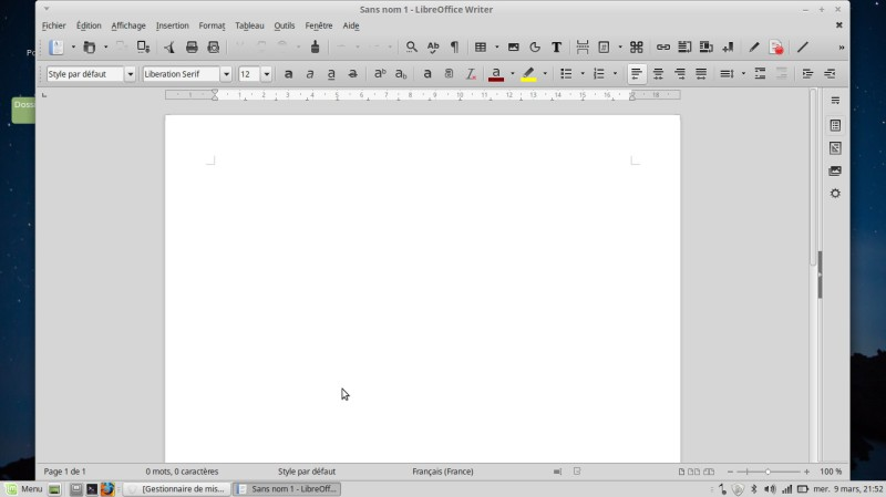 Linux Mint mate Libreoffice Writer