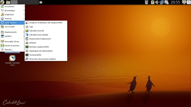Calculate Linux 15.17 le menu