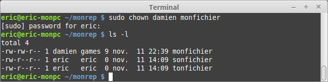 Commande linux chown