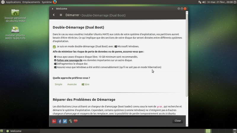 Bureau Ubuntu Mate Bienvenue double boot