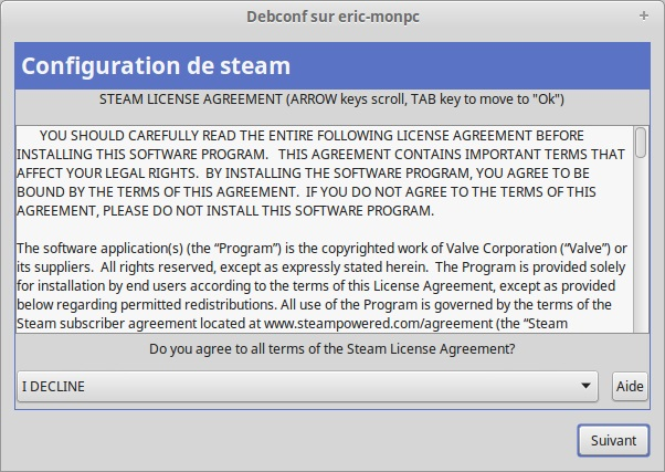 Steam accord de licence