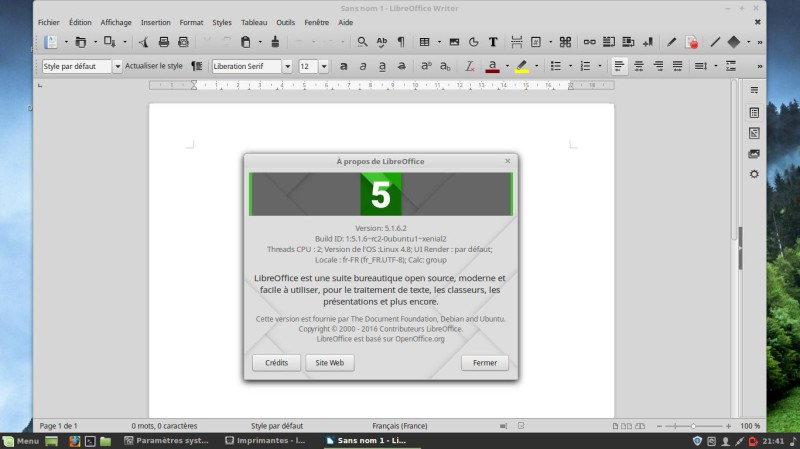 LibreOffice Linux Mint 18.02