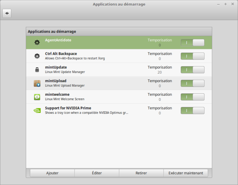 Les applications au démarrage de Linux Mint
