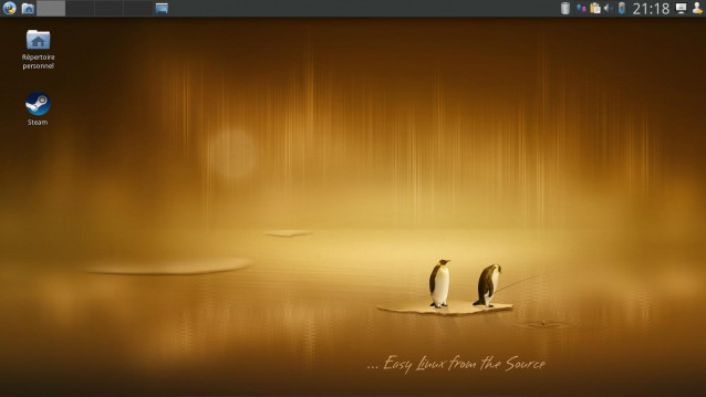 Bureau Xfce Calculate Linux avec Steam